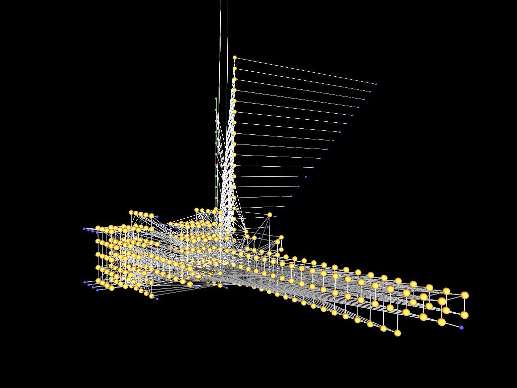 Neural net with vertical mast and fibres that look like a sail. Two large cubes of neurons to the left. A long, girder like structure to the right.
